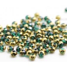Бисер Зеленое Золото, многогранный,  4мм, 10 шт