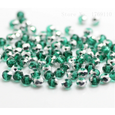 Бисер Зеленое Серебро, многогранный,  4мм, 10 шт