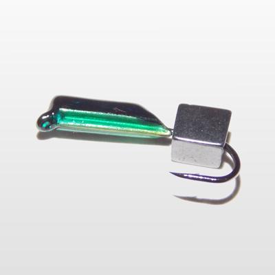 Гвоздекубик с кубиком гематит, зеленая чешуйка, 2 мм