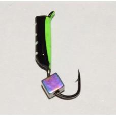 Мормышка Жучок зеленая, кубик Хамелеон, 2 мм