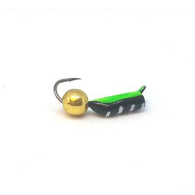 Мормышка Жучок зеленая, шарик золото, 2 мм