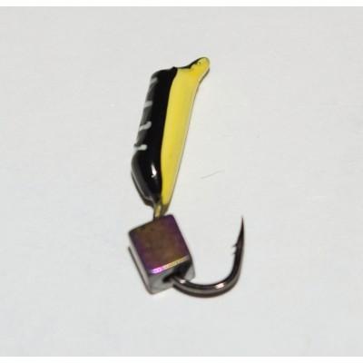 Мормышка Жучок черная, кубик Хамелеон, 2 мм