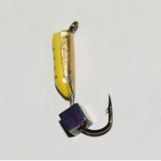 Мормышка Жучок желтая, кубик Хамелеон, 2 мм