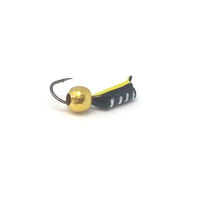 Мормышка Жучок черная, шарик золото, 2 мм
