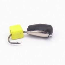 Мормышка Гвоздекубик с желтым кубиком, чешуйка серебро ( Сырный кубик ) 4 мм